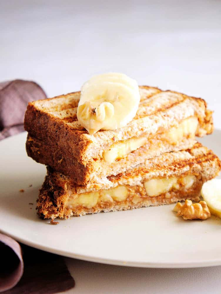 Banana Peanut Butter Sandwich (Gourmet, Grilled) - The Picky Eater